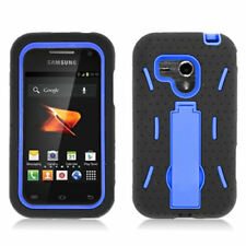 Samsung Galaxy Rush M830 BOOST S ARMOR HYBRID HARD CASE SKIN COVER BLACK BLUE