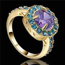 Noble Jewelry Round Cut Amethyst 18K yellow Gold Filled Women Ring Gift Size 7