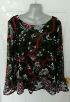 ❤ M&S Size 24 Black Pink Blue Lace Floral Embroidered Blouse Top Lined Plus