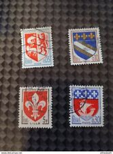 Lot 4 timbres Armoiries Blasons Lille Auch Troyes Paris francs Postes set stamp