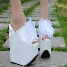 Womens Flower Party Super Wedge Heels Platform Peep Toe Sandals Pumps Mules New