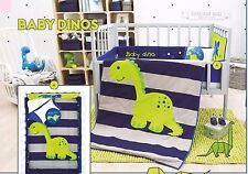 Baby Boy Blue and Gray 6 Piece Dinosaur Nursery Crib Bedding Set by Vianney