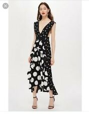 BNWT Petite Topshop Maxi Midi Dress Spot Polka Dot Black White Pinafore Size 10