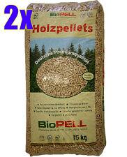 2 Sack Qualitäts-Bio-Holzpellets á 15 kg = 30kg NEU Holz-Pellets Deutschland