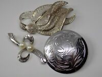 3X STERLING SILVER BROOCHES. JOB LOT RESALE. ALL GOOD CONDITION.   (NCB)