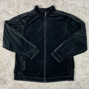 Adidas Velour Jacket Mens XXL Velvet Trefoil Three Stripe Embroidered Full Zip