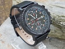 SKMEI Mens Black & Red 1350 Anolog Leather Strap Military Style Watch