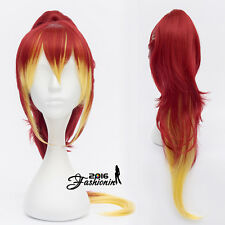 30CM Fashion Red Mixed Yellow Women Wavy Party Hair Cosplay Wig+60CM Ponytail