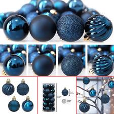 24ct Christmas Tree Ball Ornaments Shatterproof Decoration Pastel Set Dark Blue