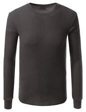 Haute Qualité Thermique Manche Longue Col Rond T-shirt pour petite taille HOMMES-Anthracite