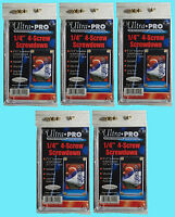 "5 Ultra Pro 1/4"" 4-SCREW SCREWDOWN RECESSED Standard Trading Card Holder 3x5"