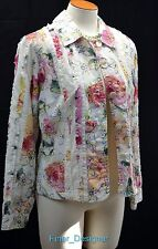 Coldwater Creek Jacket Blazer light coat lined Shabby cotton rag ruffle 10 NEW
