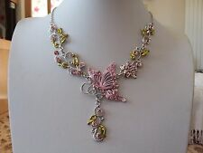 Brand new silver Necklace with a pale pink enamel butterfly and crystals + box