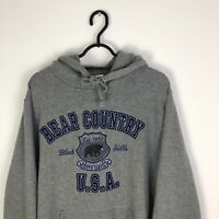 Vintage USA Cottage Core Oversized Spell out Hoodie Sweatshirt Grey - Medium