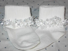 10 pairs of Clear Beaded Socks - great for back to school or gifts - Free Ship!