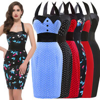 Promotions WOMEN Halter VINTAGE 50's STYLE POLKA DOT CHERRY PENCIL WIGGLE DRESS