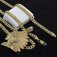 "Mens Gold Plated Hip-Hop Cz Indian Head Face 24"" Cuban Chain Necklace D537"
