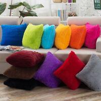 Fluffy Soft Plush Square Pillow Cushion Case Home Sofa Waist Throw Cushion Cover