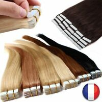10-40 BANDES EXTENSIONS DE CHEVEUX TAPE IN BANDE ADHESIVE NATURELS REMY 53-60CM