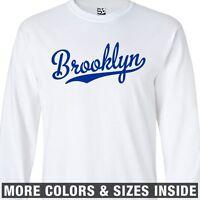 Brooklyn Script LONG SLEEVE T-Shirt - Baseball Tail New York  All Sizes & Colors