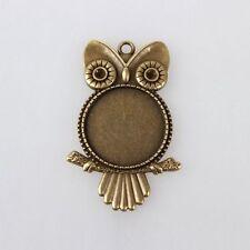 10pc Tibetan Alloy Owl Pendant Cabochon Bezel Settings Tray Craft Jewelry Charms