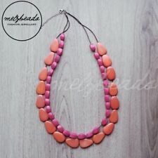 Wooden Bead Necklace Statement Necklace Eclectic double strand orange red