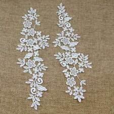 Off White Flower Floral Motif Fabric Applique Sewing Craft Venise Lace Trim Piar