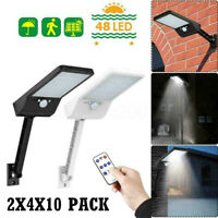 60LED Solar PIR Motion Sensor Wall Light Outdoor Yard Street Lamp+Remote Control