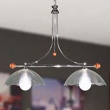 Lampadario bilanciere Moderno cromato ferro e legno 2 luci vetri filigrana trasp
