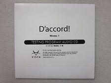 %D'accord Niveau 1 French 1 Testing Program Audio CD by Vista New 9781605765716