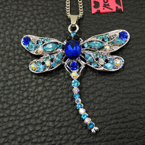 Women's Blue Crystal Dragonfly Pendant Betsey Johnson Sweater Necklace