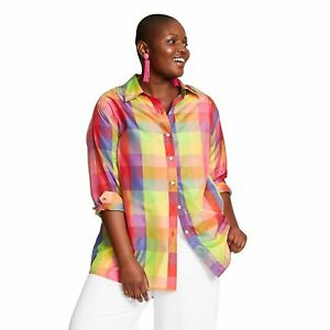 NWT Isaac Mizrahi x Target Checkered Long Sleeve Collared Silk Blouse 3X
