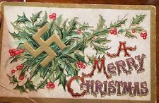 Vintage Embossed Christmas Postcard With Good Luck Swastika Gold Tone