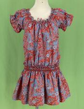 339 Ralph Lauren girl purple blue paisley dress short cup sleeve EUC Size 8Y