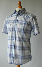 Men's Blue & White Checked Soul Cal Short Sleeved Shirt Size M, Medium.