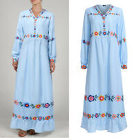 UK Womens V-neck Long Sleeve Printed Floral Long Shirt Dress Ladies Loose Kaftan