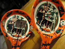 2 Vtg Halloween Clapper Noisemakers Ghost & Witches Made By Us Metal Co 1950's