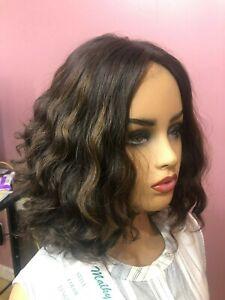 Malky Sheitel 100% European Kosher  Human Hair Wig Med  Brown/ Highlights Small
