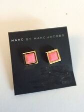 Marc by Marc Jacobs Gold Tone Tiny Rubberized Pink Square Stud Earrings $42 m17