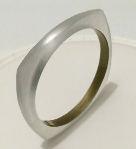 Alexis Bittar Lucite Clear Frosted White Square Bangle Bracelet