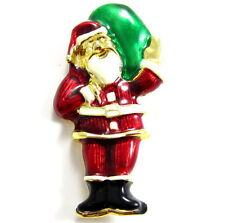 Santa Clause In A Red Suit Vintage Enamel Festive Christmas Brooch Pin* E307