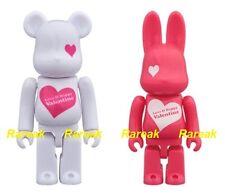 Be@rbrick 2016 R@bbrick Love Valentine Day 100% Pink Rabbrick & Bearbrick set 2p