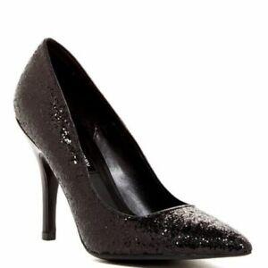 Chinese Laundry Womens Black Glitter Heels Pumps Pointed Toe Shoes Sz 8.5 NIB
