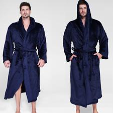 Mens Womens Fleece Long Hooded Bath Robe Lightweight Dressing Gown Robe 70-165KG