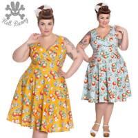 Hell Bunny Somerset Blue Rockabilly Swing Retro Vintage Pinup Dress 2XL-4XL