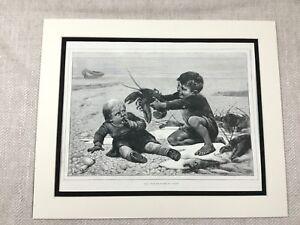Antique Print Children on the Beach Lobster Boys  Child Old Victorian Original