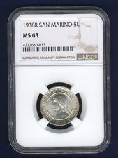 SAN MARINO 1938-R  5 LIRE SILVER COIN, CHOICE UNCIRCULATED, NGC CERTIFIED MS63