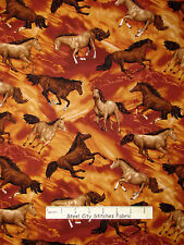 Horse Fabric - Wild Stallion Mare Horses Brown Fabriquilt Round Up #26421 32""