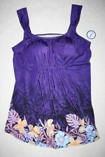 V1 Swimsuitsforall Tankini Top Purple Floral Size 18 New