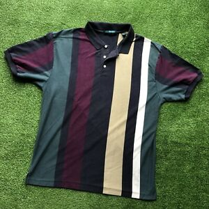 Vintage 90s Striped Colorblock Short Sleeve Collared Polo Shirt Mens XL 90s Rare